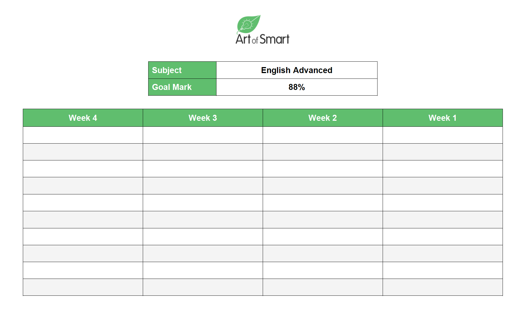 HSC Exams - Study Planner Example