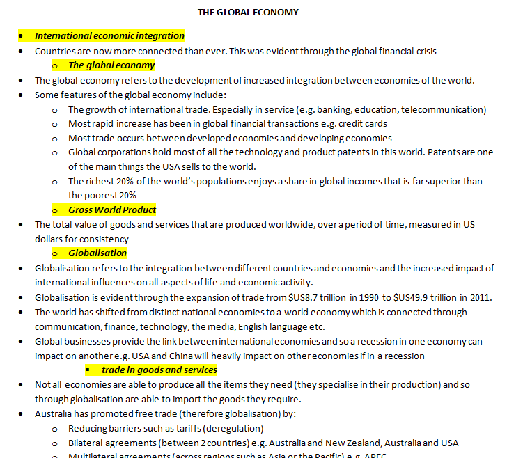 here is an example of my study notes and exam notes i like to highlight the syllabus points to make sure my notes are easily organised and make sense