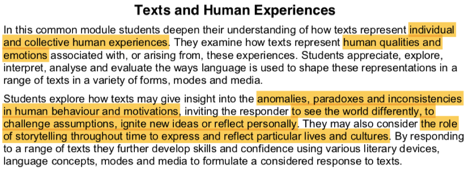 hsc english common module texts and human experiences rubric