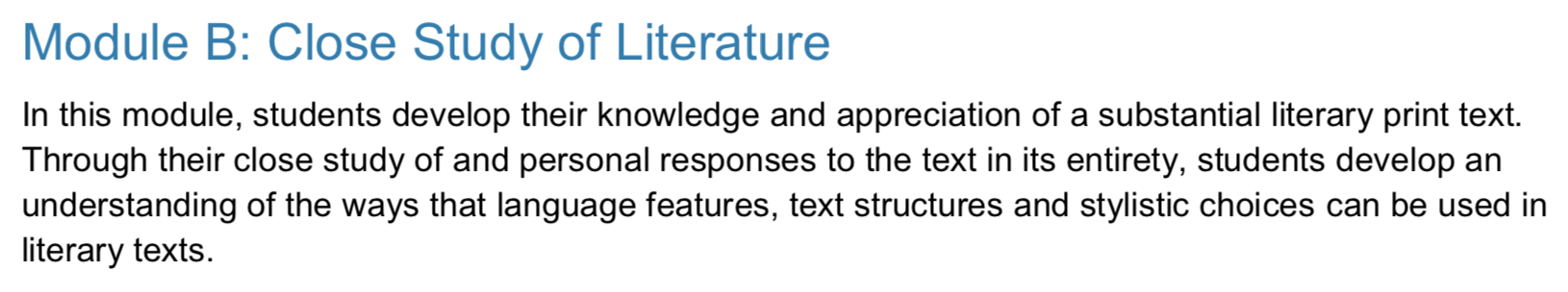 hsc year 11 standard english module b close study of literature